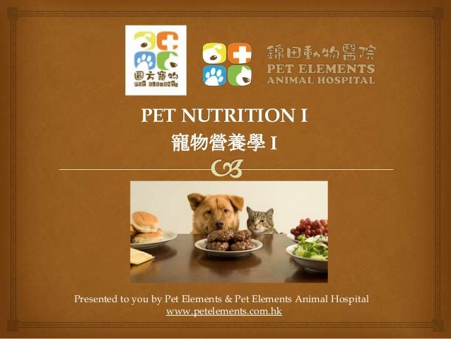 PET NUTRITION I 寵物營養學 I  Presented to you by Pet Elements & Pet Elements Animal Hospital www.petelements.com.hk