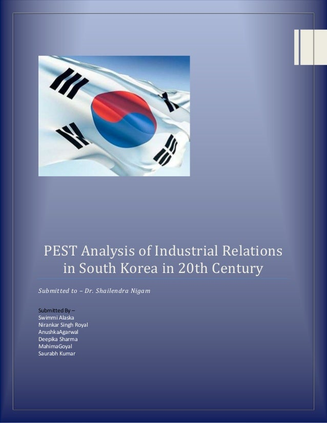 PEST Analysis of Industrial Relationsin South Korea in 20th CenturySubmitted to – Dr. Shailendra NigamSubmitted By –Swimmi...