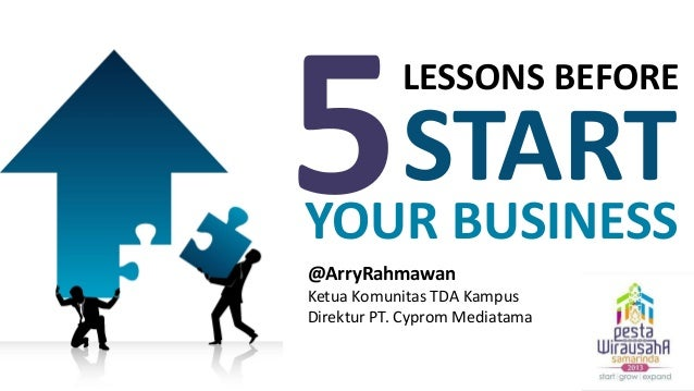 LESSONS BEFORE  START  YOUR BUSINESS @ArryRahmawan Ketua Komunitas TDA Kampus Direktur PT. Cyprom Mediatama