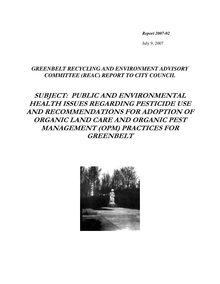 Pesticide Report of  Green Aces (Greenbelt Committee on Enviromental Sustainablity)