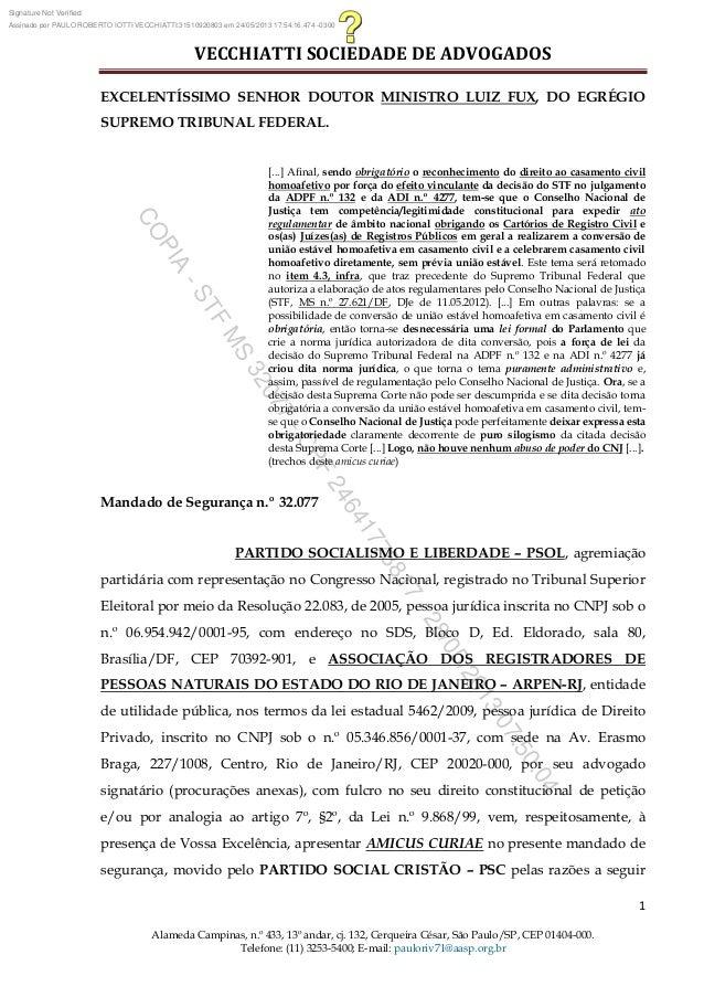 VECCHIATTI SOCIEDADE DE ADVOGADOS1Alameda Campinas, n.º 433, 13º andar, cj. 132, Cerqueira César, São Paulo/SP, CEP 01404-...