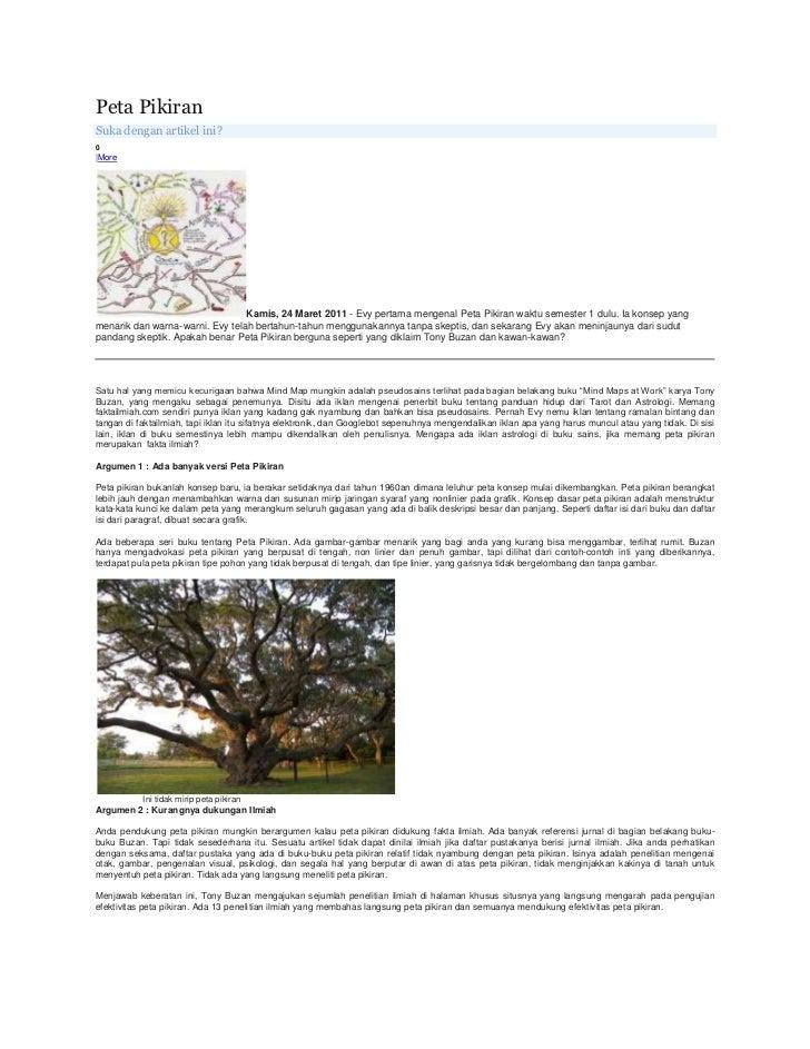 Peta Pikiran<br />Suka dengan artikel ini?<br />0<br /> More<br />Kamis, 24 Maret 2011- Evy pertama mengenal Peta Pikiran...