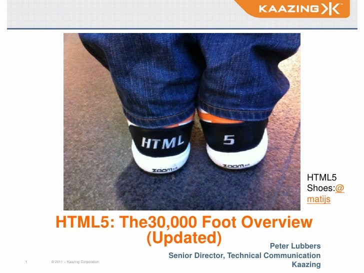 Title<br />HTML5Shoes:@matijs<br />HTML5: The30,000 Foot Overview(Updated)<br />Peter Lubbers<br />Senior Director, Techni...