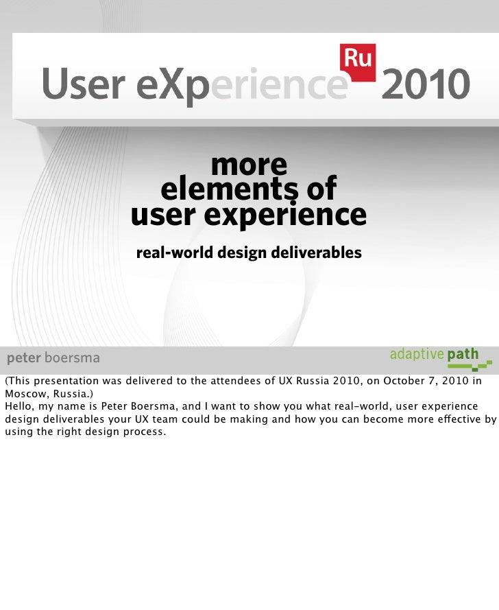 More Elements of UX: real-world design deliverables