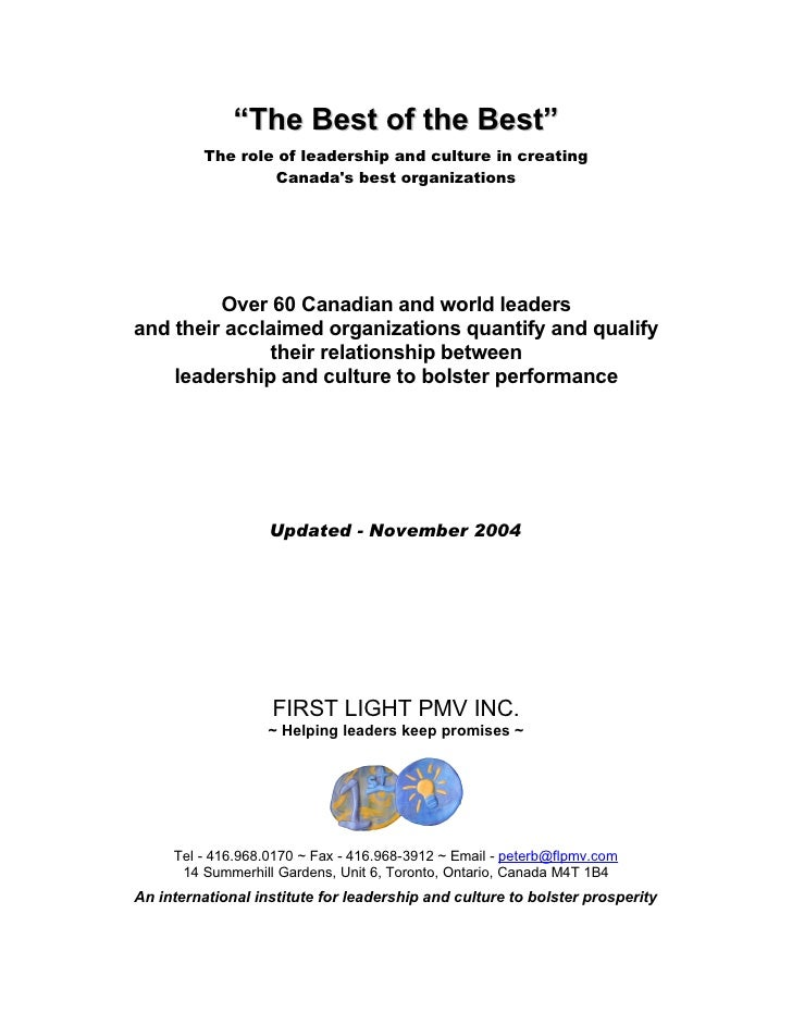 """The Best of the Best""           The role of leadership and culture in creating                   Canada's best organizati..."