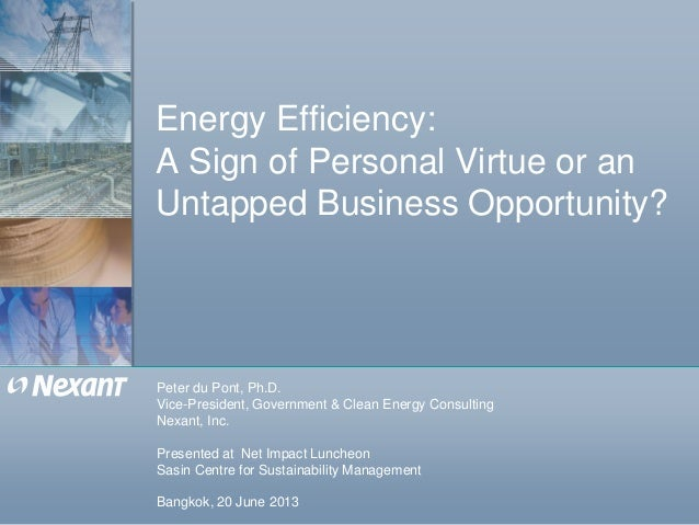 Energy Efficiency:A Sign of Personal Virtue or anUntapped Business Opportunity?Peter du Pont, Ph.D.Vice-President, Governm...