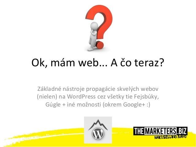 Ok, mám web... A čo teraz?Základné nástroje propagácie skvelých webov(nielen) na WordPress cez všetky tie Fejsbúky,Gúgle +...