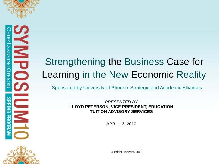 Strengthening the Business Case for Learning in the New Economic Reality