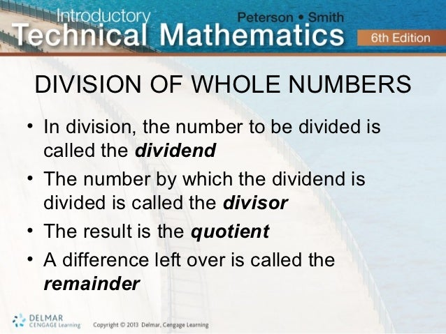 Division of Whole Numbers Division of Whole Numbers• in
