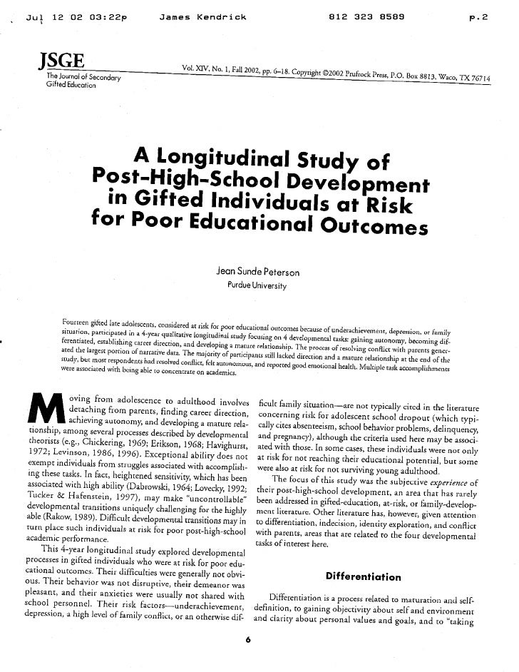 Peterson - Longitudinal Post HS At Risk