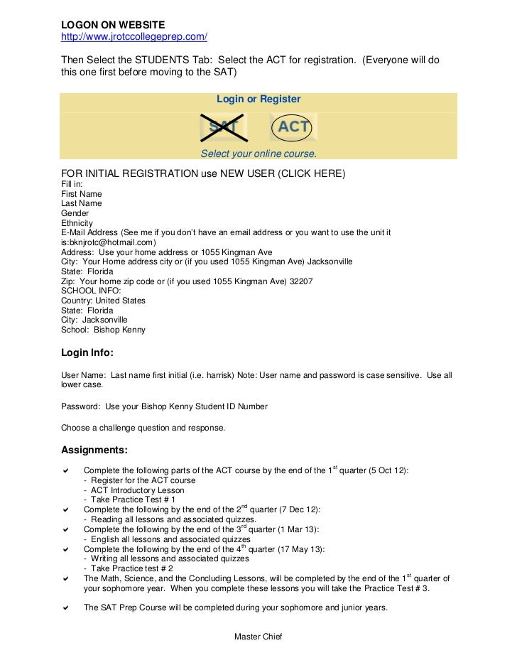 Bishop Kenny JROTC College Prep Requirements for NS1