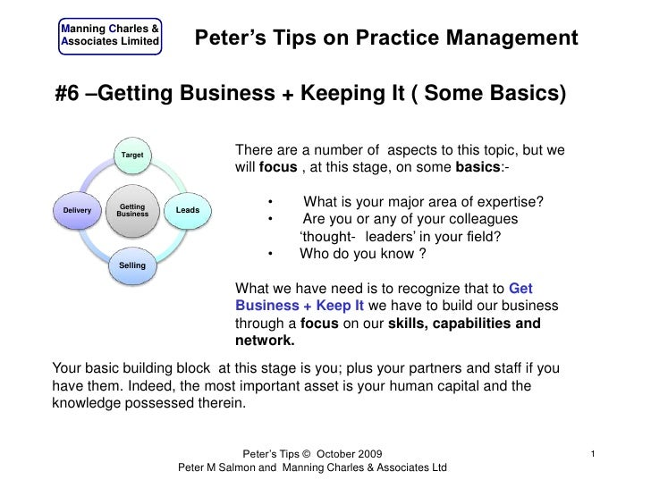 Peters Tips #6 - Getting Business + Keeping It ( Some Basics)