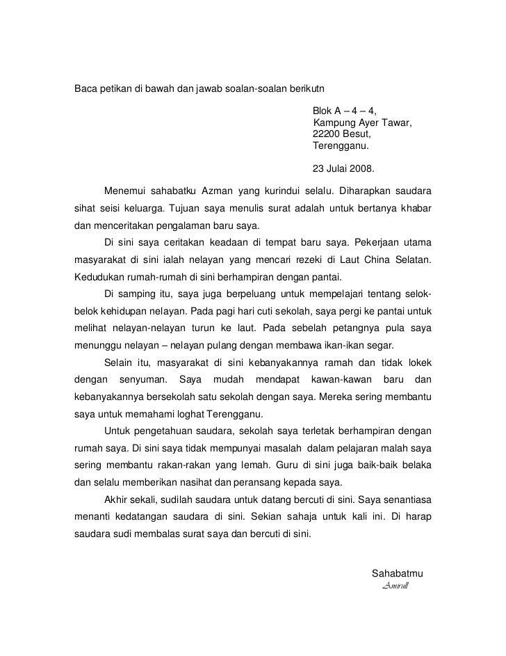 Contoh Karangan Surat Tidak Rasmi Darjah 4 Rasmi Ri