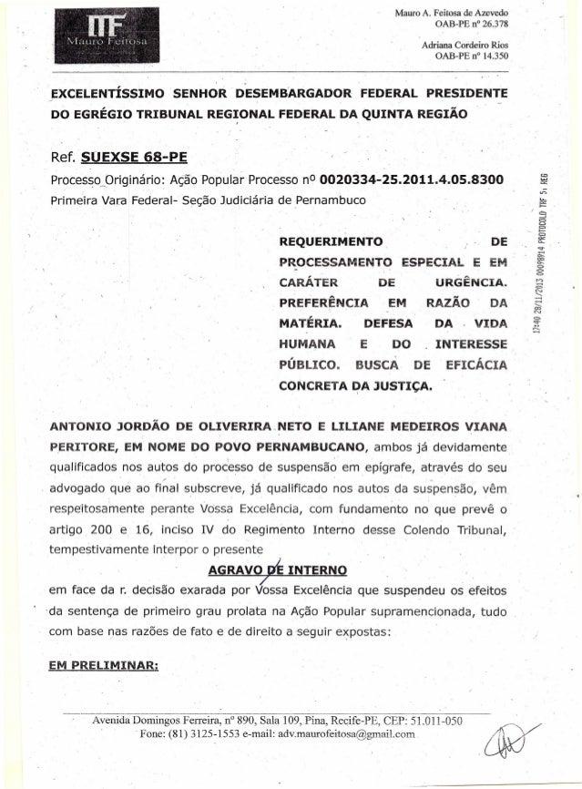 ~  ',I  Mauro A. Feitosa de Azevedo OAB-PE n° 26.378  DF  . l a u ro F e it o sa  Adriana Cordeiro Rios OAB-PE n° 14.350  ...