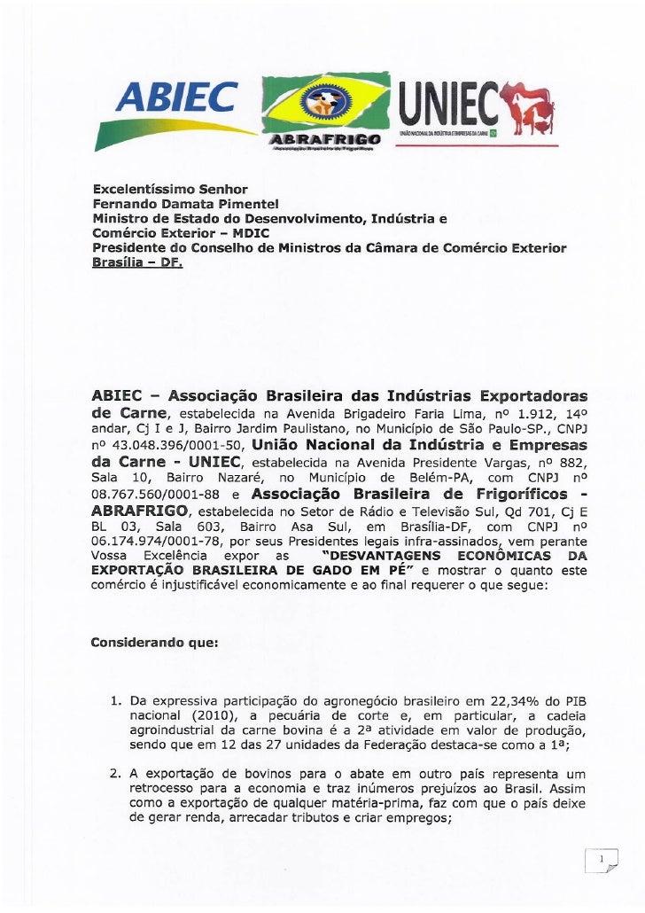 ABEG: petição imposto de exportação de gado vivo
