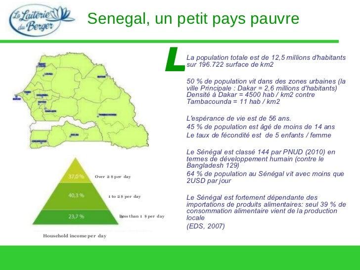Senegal, un petit pays pauvre L La population totale est de 12,5 millions d'habitants sur 196.722 surface de km2 50 % de p...