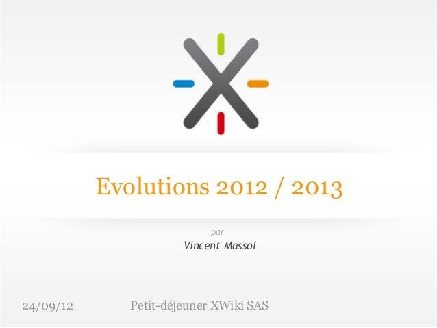 Evolutions 2012 / 2013                            par                       Vincent Massol24/09/12      Petit-déjeuner XWi...