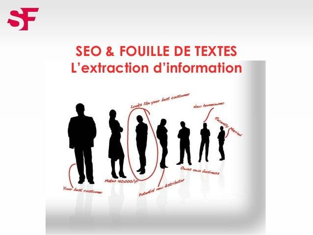 SEO & FOUILLE DE TEXTES L'extraction d'information