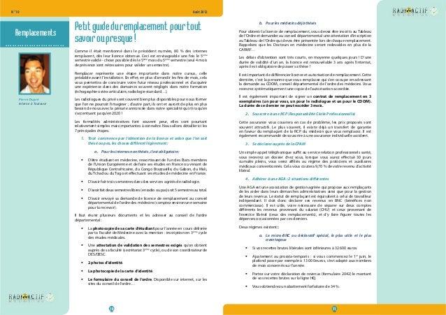 N° 10  Août 2012  Petit guide du remplacement pour tout  savoir ou presque !  Comme il était mentionné dans le précédent n...