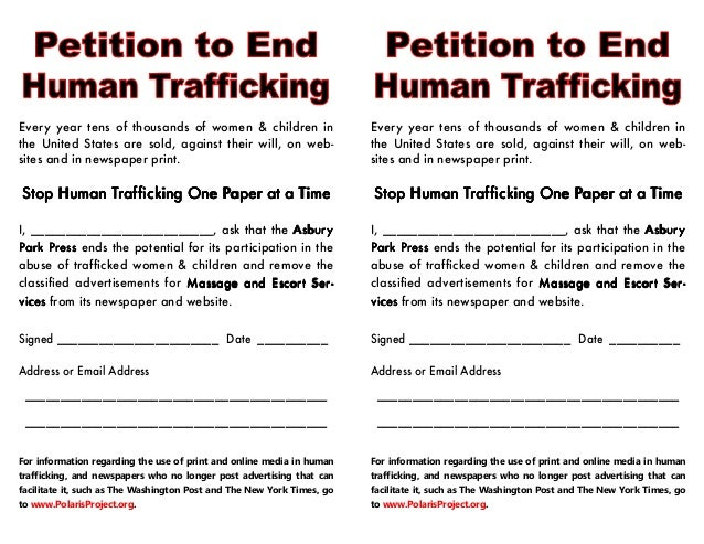 Every year tens of thousands of women & children in the United States are sold, against their will, on web- sites and in n...