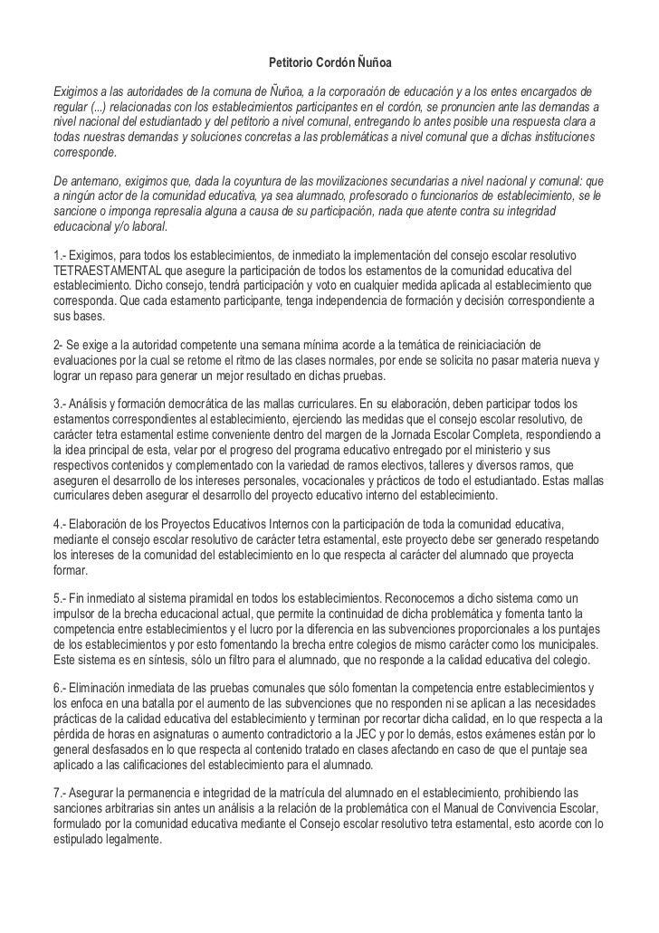 Petitorio Cordón ÑuñoaExigimos a las autoridades de la comuna de Ñuñoa, a la corporación de educación y a los entes encarg...