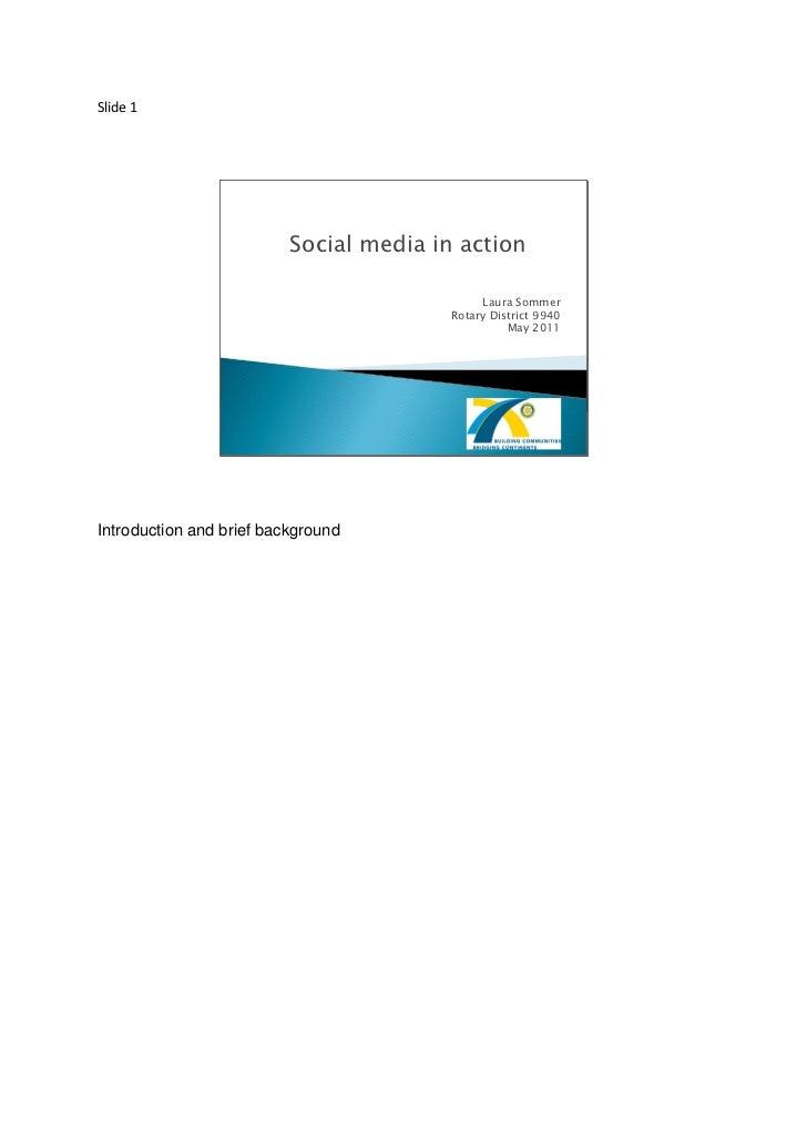 Slide 1                          Social media in action                                              Laura Sommer         ...