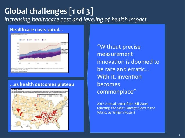 """Global&challenges&[1&of&3]& Increasing*healthcare*cost*and*leveling*of*health*impact* 1"""" Healthcare)costs)spiral…) …as)hea..."""