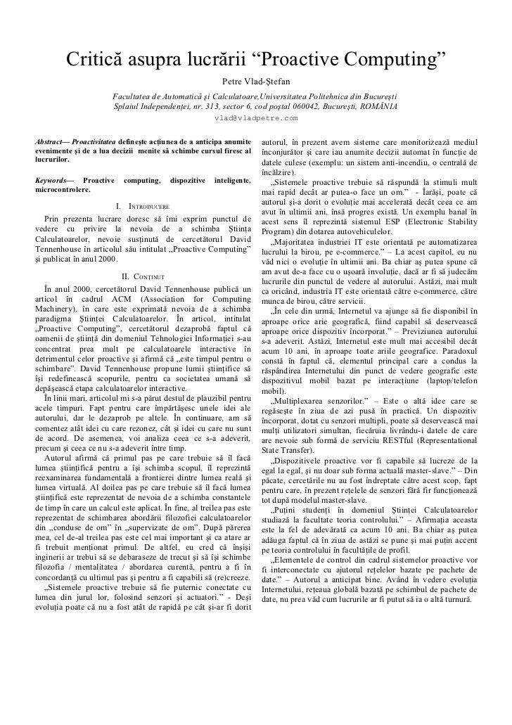 Critica asupra lucrarii Proactive Computing