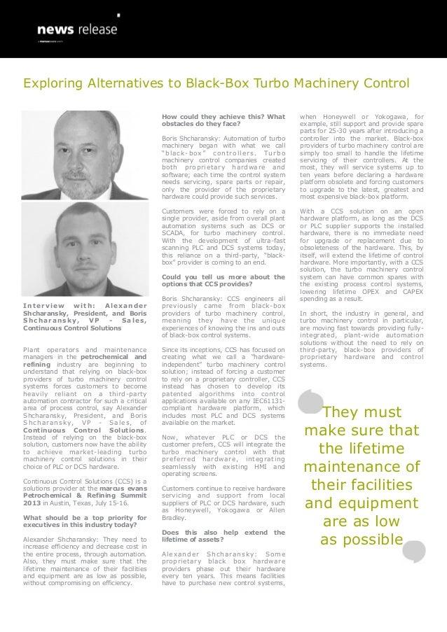 Exploring Alternatives to Black-Box Turbo Machinery Control - Alexander & Boris Shcharansky, Continuous Control Solutions