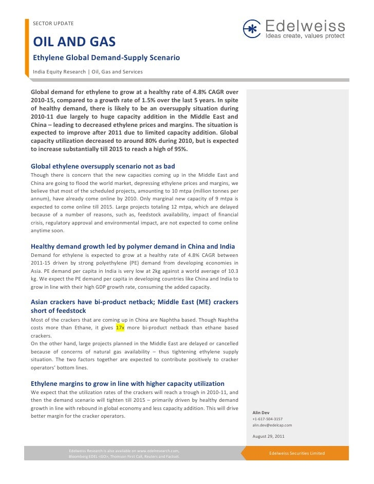 SECTOR UPDATEOIL AND GASEthylene Global Demand-Supply ScenarioIndia Equity Research | Oil, Gas and ServicesGlobal demand f...