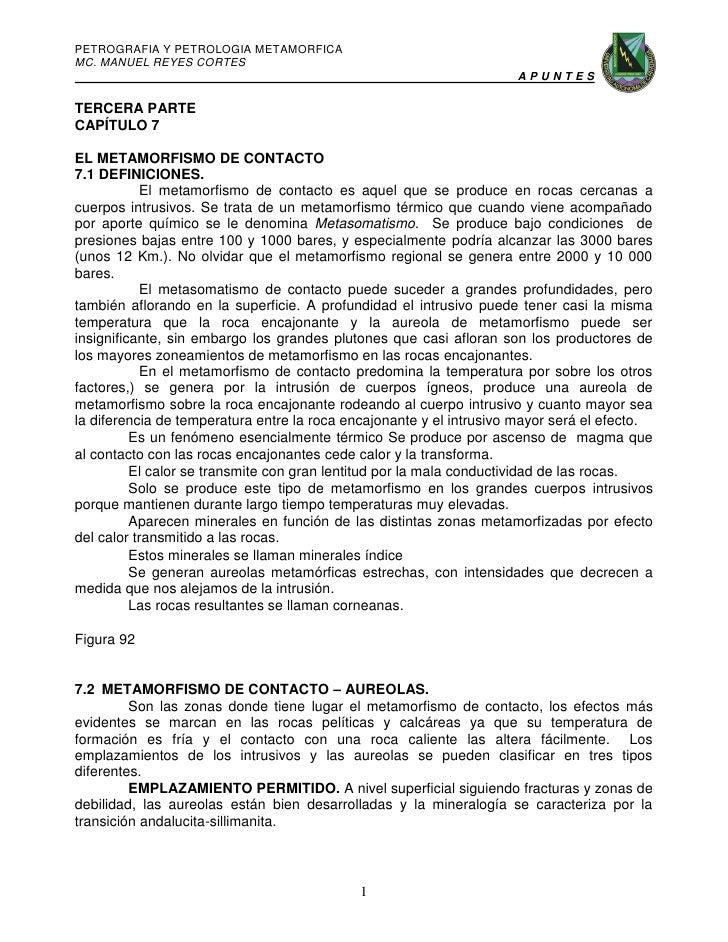 PETROGRAFIA Y PETROLOGIA METAMORFICAMC. MANUEL REYES CORTES                                                               ...