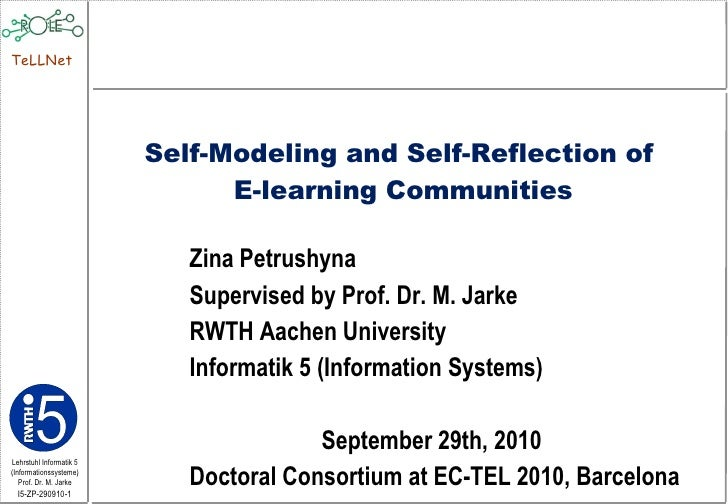 Self-modeling and self-reflection of E-learning communities