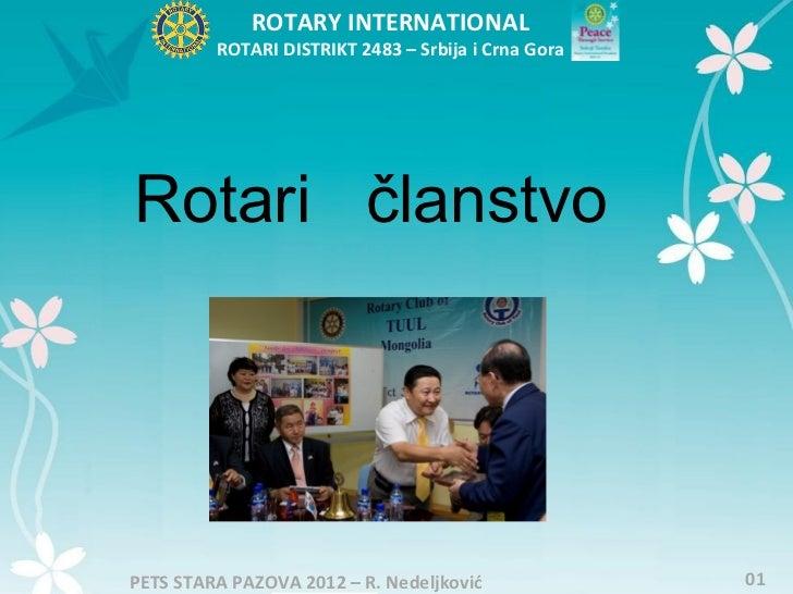 ROTARY INTERNATIONAL         ROTARI DISTRIKT 2483 – Srbija i Crna GoraRotari članstvoPETS STARA PAZOVA 2012 – R. Nedeljkov...