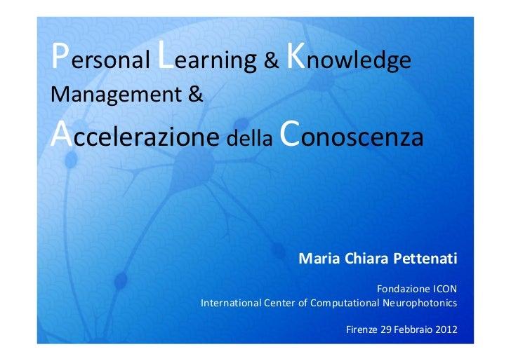 Personal Learning & KnowledgeManagement &Accelerazione della Conoscenza                               Maria Chiara Pettena...
