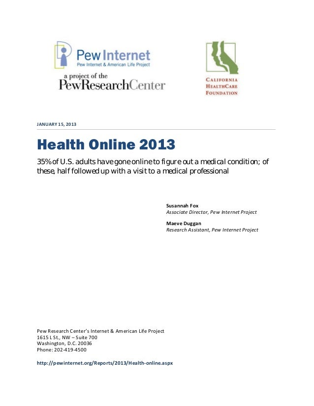 Health Online 2013 by Pew Research