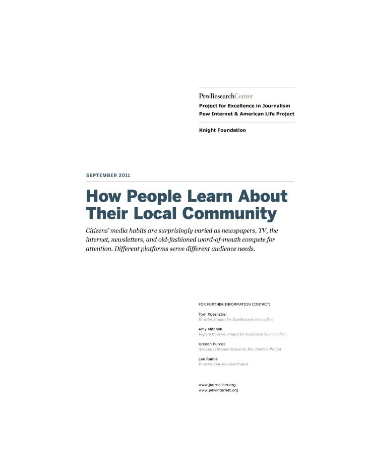 1                             How People learn About Their Local CommunityHow people learn about their local communityOver...