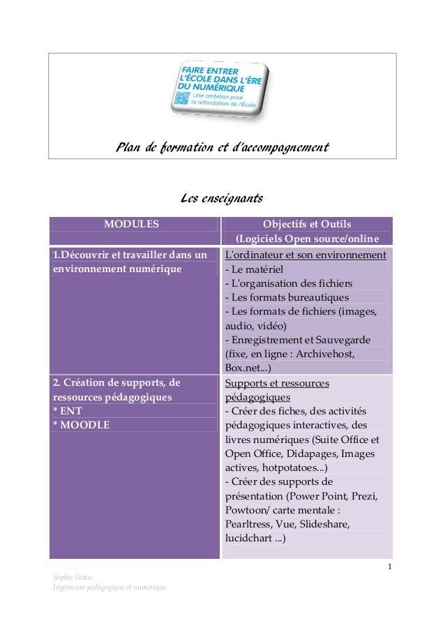 Plan de formation et d'accompagnement  Les enseignants MODULES  Objectifs et Outils (Logiciels Open source/online  1.Décou...