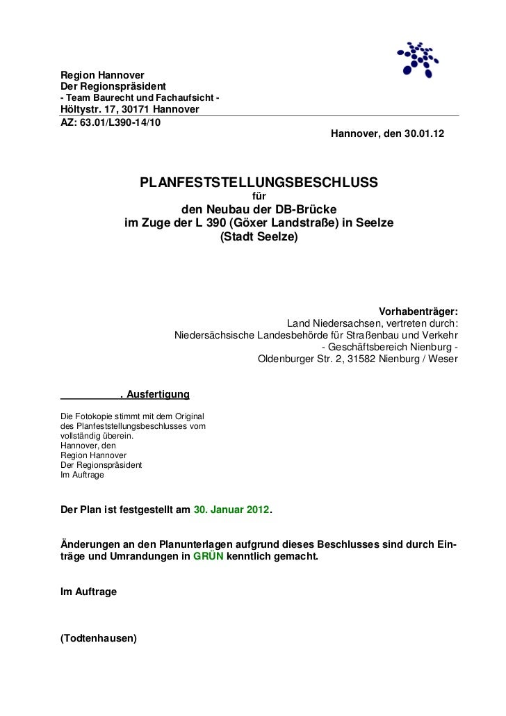Region HannoverDer Regionspräsident- Team Baurecht und Fachaufsicht -Höltystr. 17, 30171 HannoverAZ: 63.01/L390-14/10     ...