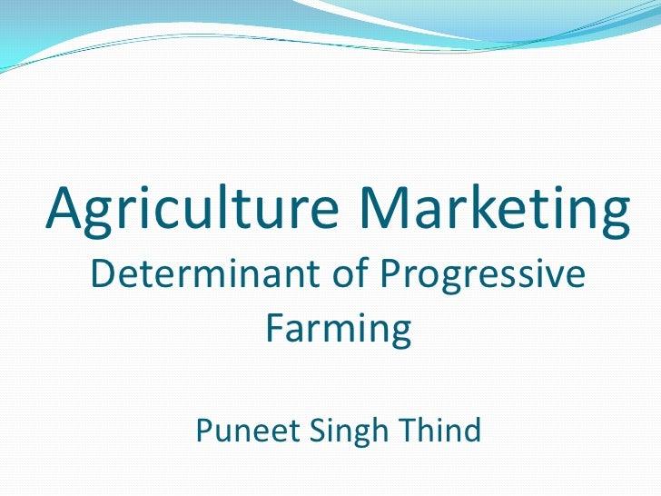 Agriculture MarketingDeterminant of Progressive FarmingPuneet Singh Thind <br />