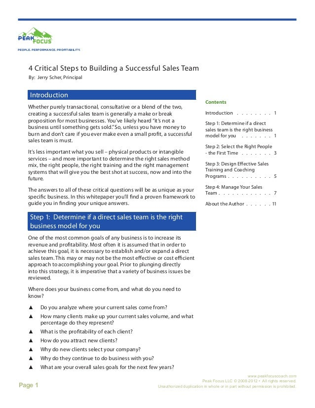 4 Critical Steps to Building A Successful Sales Team White Paper