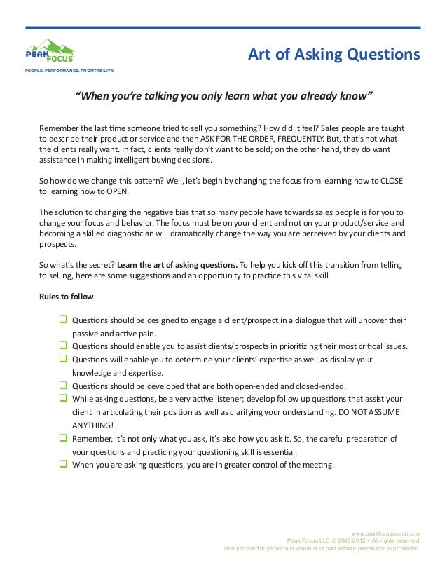 """Art of Asking QuestionsPEOPLE. PERFORMANCE. PROFITABILITY.                   """"When you're talking you only learn what you ..."""