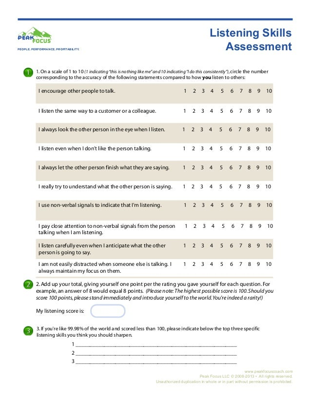 assessing listening Get strategies for formatively assessing student listening and speaking skills this video shows how one teacher assesses her students using a well organized checklist.