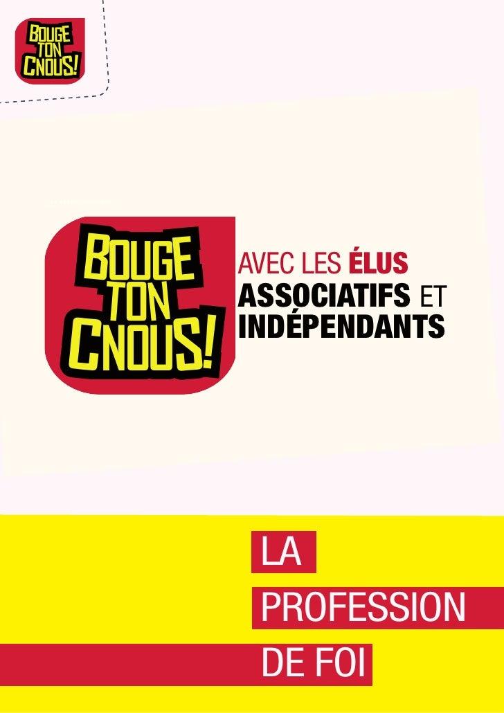 """Profession de foi """"BOUGE TON CNOUS avec les élus associatifs et indépendants"""""""