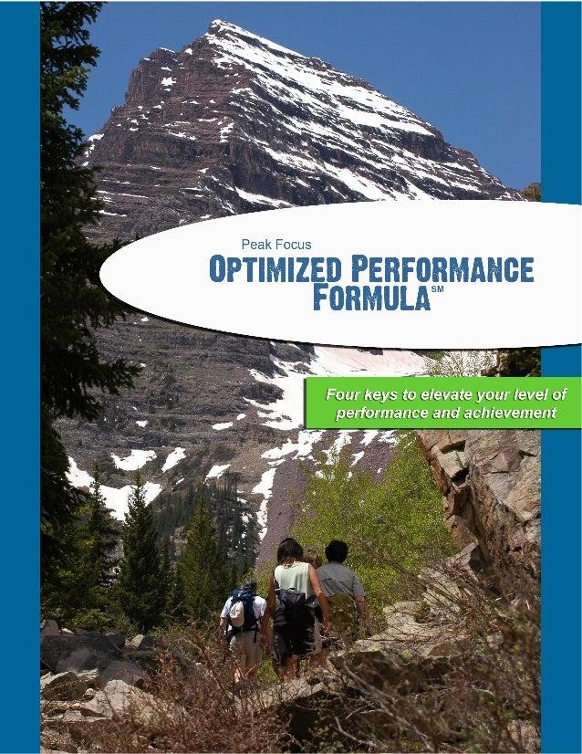 Peak Focus Optimized Performance Formula