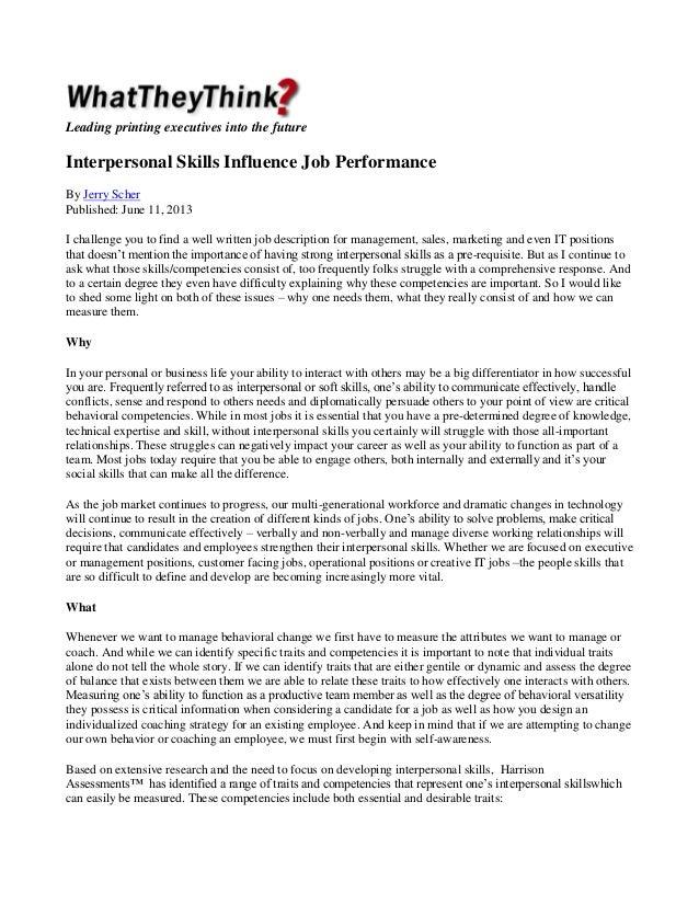 Interpersonal Skills Influence Performance