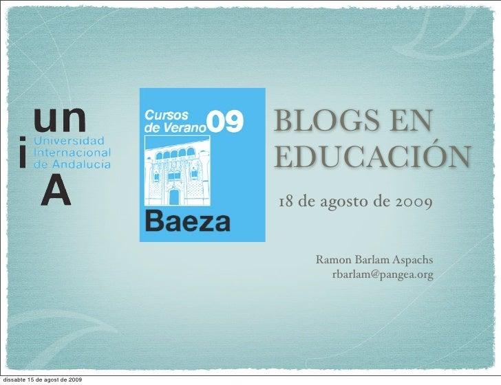 BLOGS EN                                EDUCACIÓN                                18 de agosto de 2009                     ...