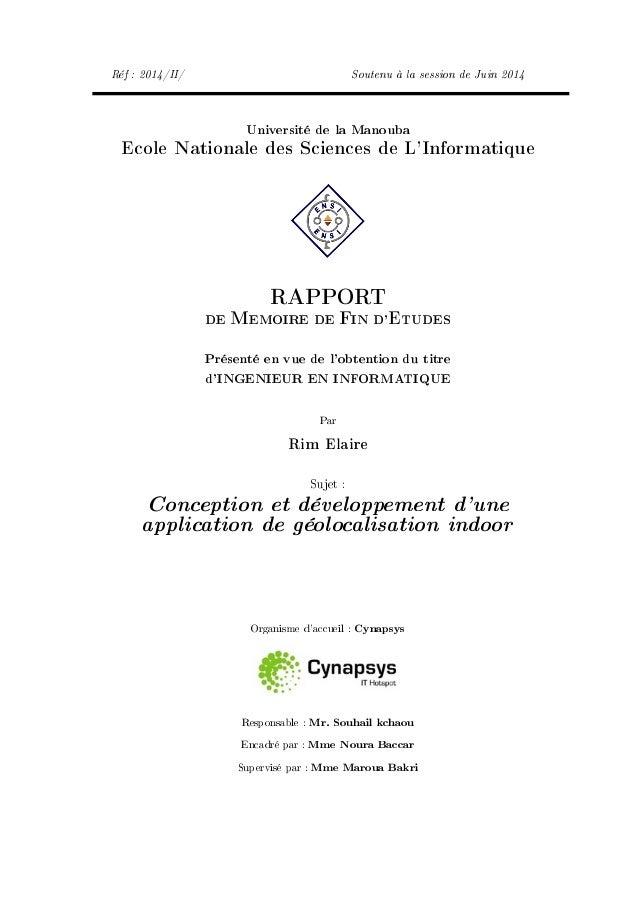 Réf : 2014/II/ Soutenu à la session de Juin 2014 Université de la Manouba Ecole Nationale des Sciences de L'Informatique R...