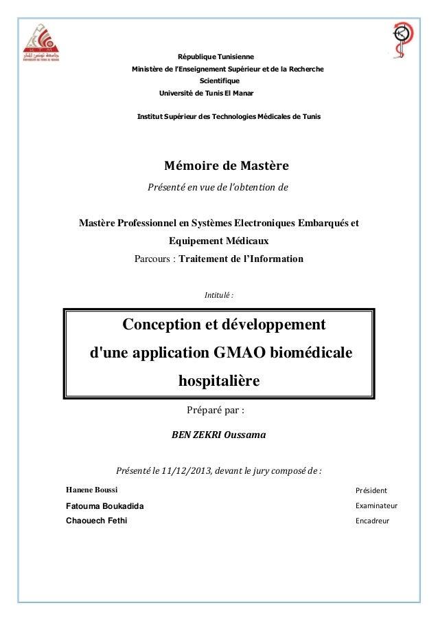 République Tunisienne Ministère de l'Enseignement Supérieur et de la Recherche Scientifique Université de Tunis El Manar  ...