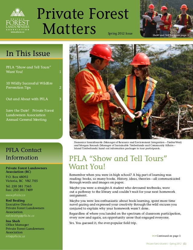 Private Forest                     Matters                                    Spring 2012 Issue                   Show and...
