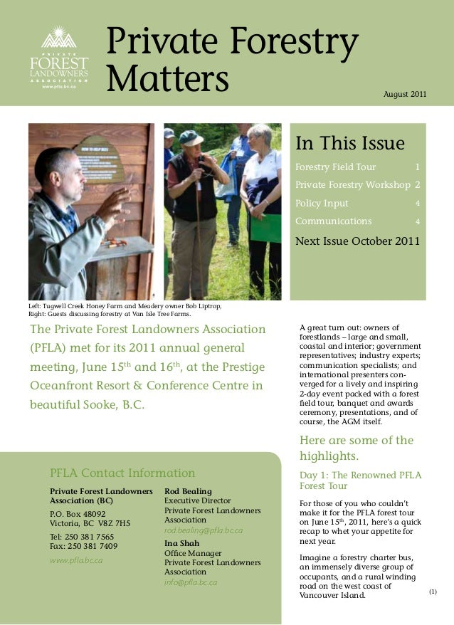 Private Forestry                        Matters                                                               August 2011 ...
